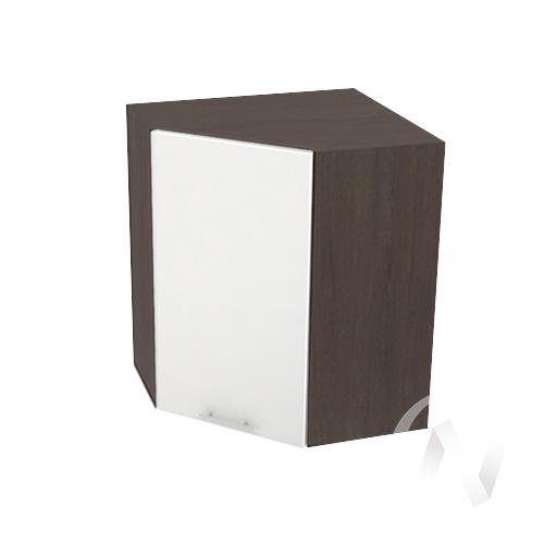 """Кухня """"Валерия-М"""": Шкаф верхний угловой 590, ШВУ 590 (белый глянец/корпус венге)"""