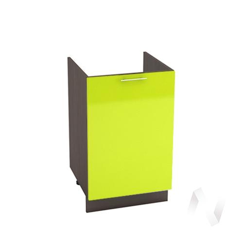 "Кухня ""Валерия-М"": Шкаф нижний под мойку 500, ШНМ 500 (лайм глянец/корпус венге)"