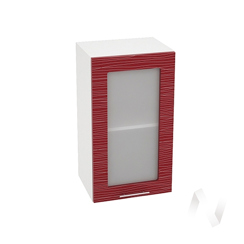 """Кухня """"Валерия-М"""": Шкаф верхний со стеклом 400, ШВС 400 (Страйп красный/корпус белый)"""