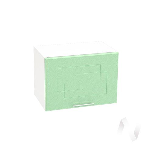 """Кухня """"Вега"""": Шкаф верхний горизонтальный 500, ШВГ 500 (салатовый металлик/корпус белый)"""