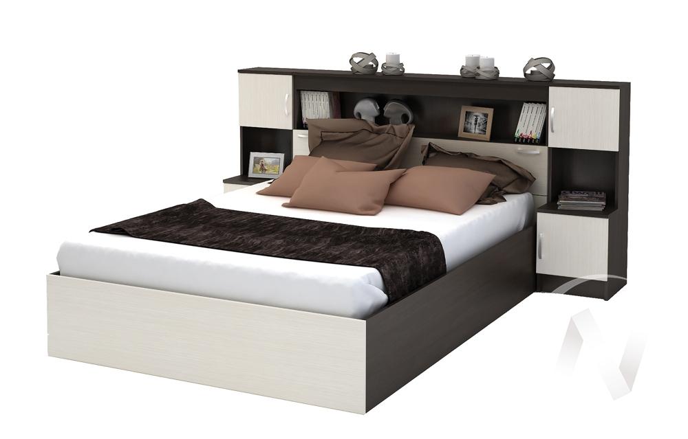Кровать с прикроватным блоком КР 552 Спальня Бася (венге/анкор)
