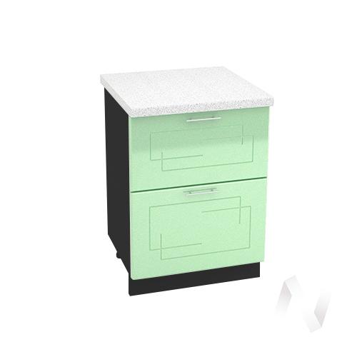 """Кухня """"Вега"""": Шкаф нижний с 2-мя ящиками 600, ШН2Я 600 (салатовый металлик/корпус венге)"""