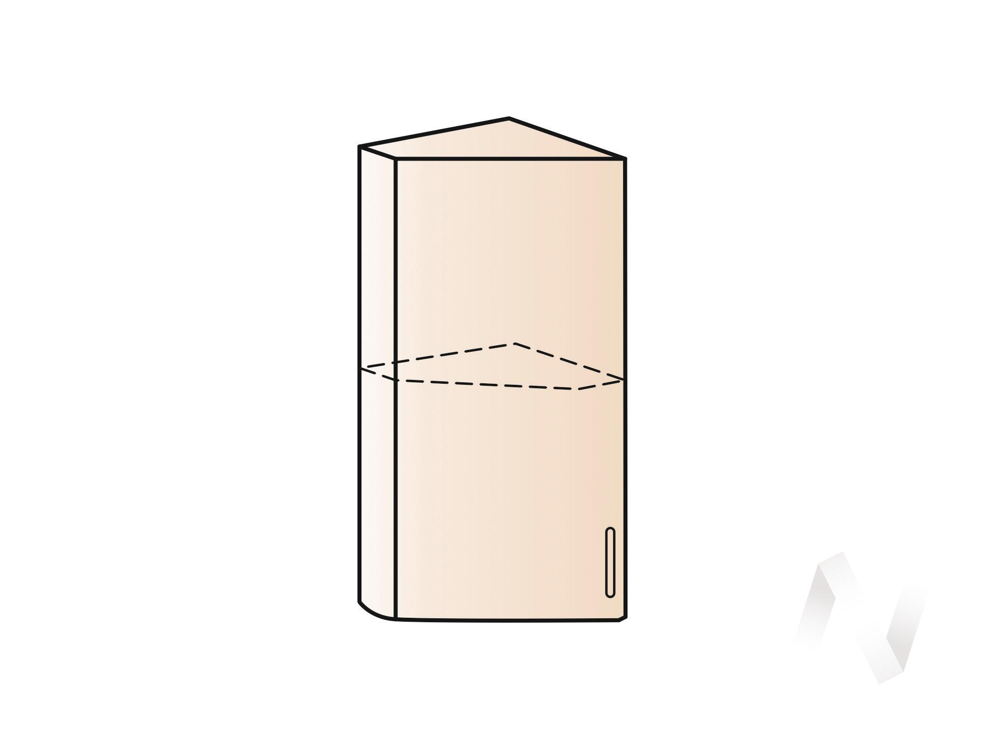 """Кухня """"Валерия-М"""": Шкаф верхний торцевой 224, ШВТ 224 (белый металлик/корпус белый) в Томске — авторская мебель Экостиль"""