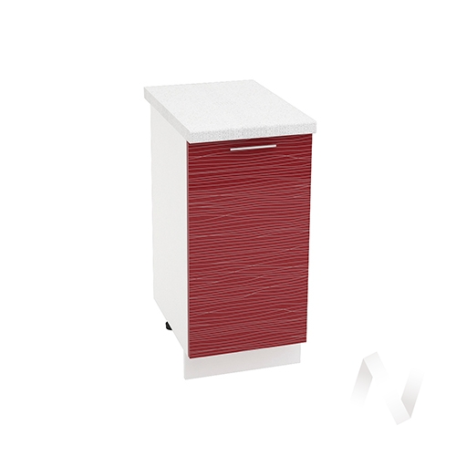 "Кухня ""Валерия-М"": Шкаф нижний 400, ШН 400 (Страйп красный/корпус белый)"