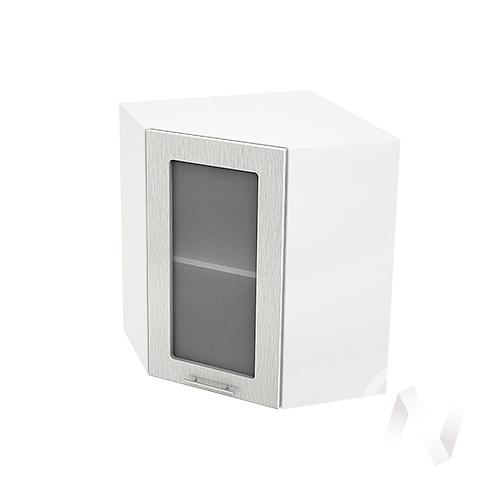 """Кухня """"Валерия-М"""": Шкаф верхний угловой со стеклом 590, ШВУС 590 (дождь серый/корпус белый)"""
