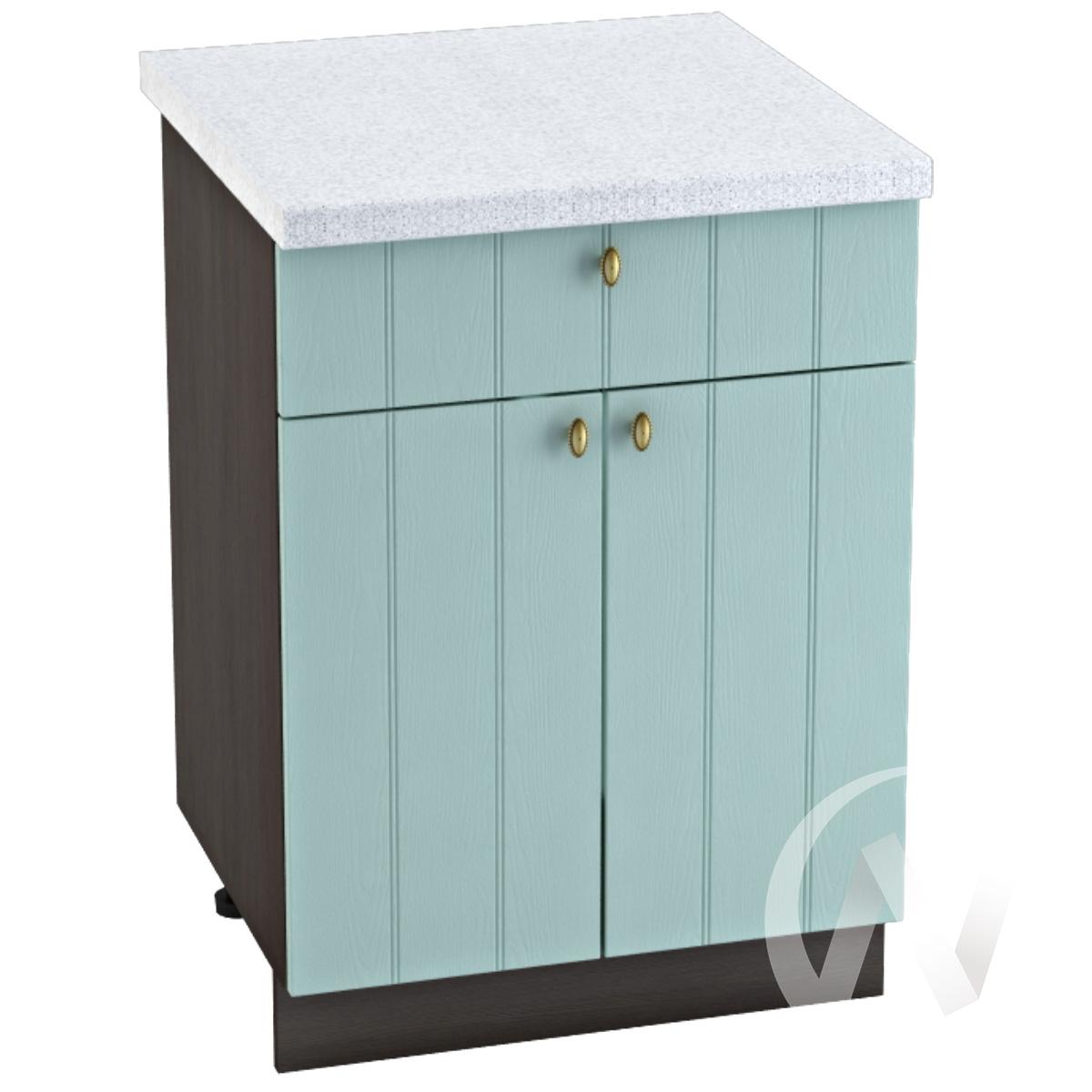 """Кухня """"Прованс"""": Шкаф нижний с ящиком 600, ШН1Я 600 М (голубой/корпус венге)"""