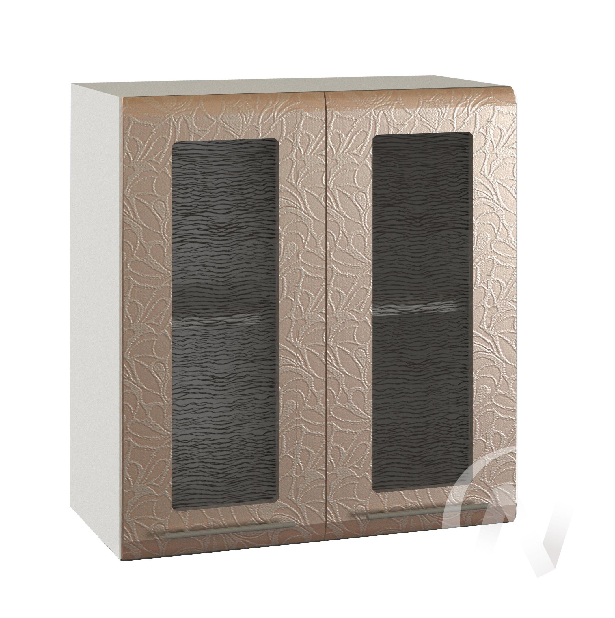 "Кухня ""Люкс"": Шкаф верхний со стеклом 600, ШВС 600 (Гобелен шампань/корпус белый)"