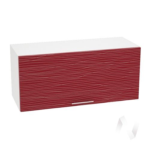 """Кухня """"Валерия-М"""": Шкаф верхний горизонтальный 800, ШВГ 800 (Страйп красный/корпус белый)"""
