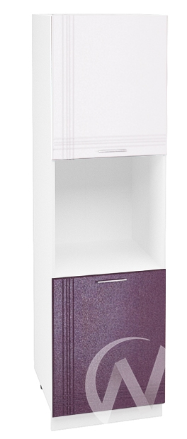 """Кухня """"Струна"""": Шкаф пенал 600, ШП 600 (белый/фиолетовый металлик/корпус белый)"""