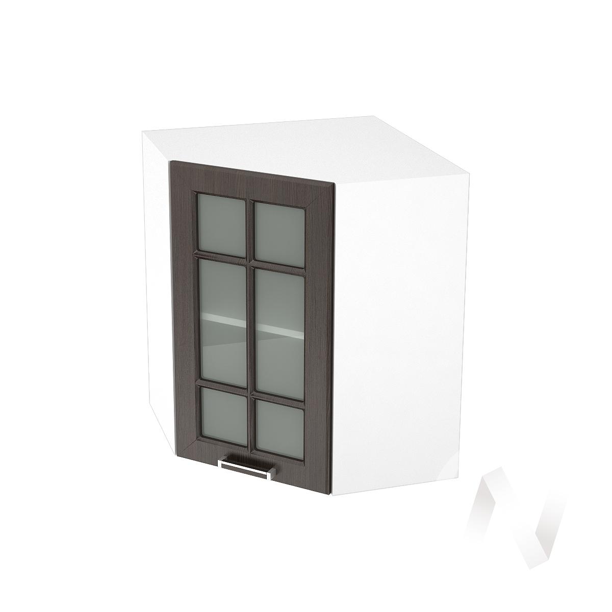 """Кухня """"Прага"""": Шкаф верхний угловой со стеклом 590, ШВУС 590 (венге/корпус белый)"""