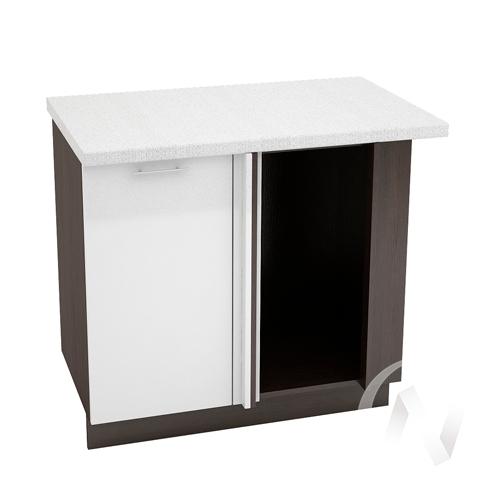 """Кухня """"Валерия-М"""": Шкаф нижний угловой 990М, ШНУ 990М (белый металлик/корпус венге)"""