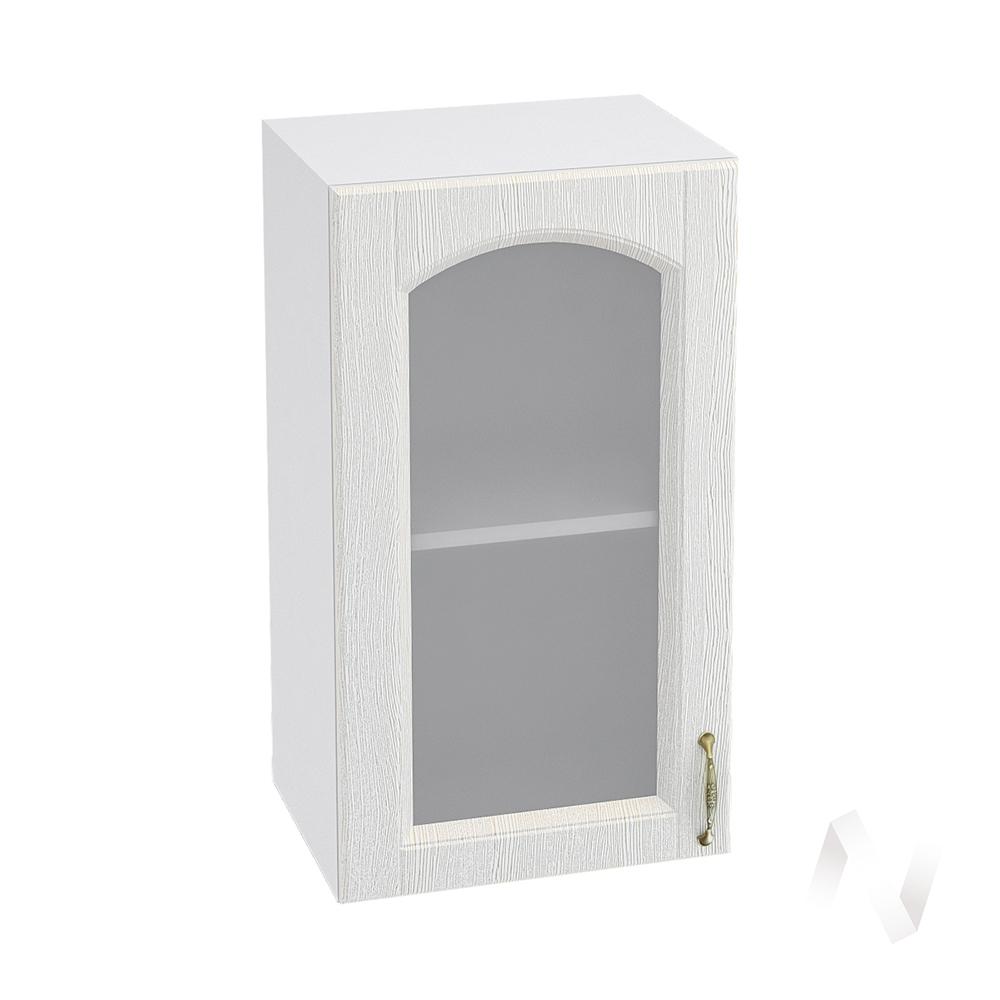 """Кухня """"Верона"""": Шкаф верхний со стеклом 400, ШВС 400 (ясень золотистый/корпус белый)"""