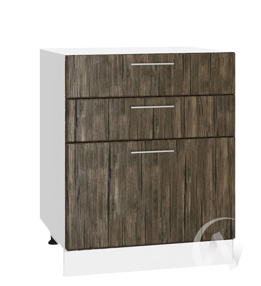 """Кухня """"Норден"""": Шкаф нижний с 3-мя ящиками 600, ШН3Я 600 (старое дерево/корпус белый)"""