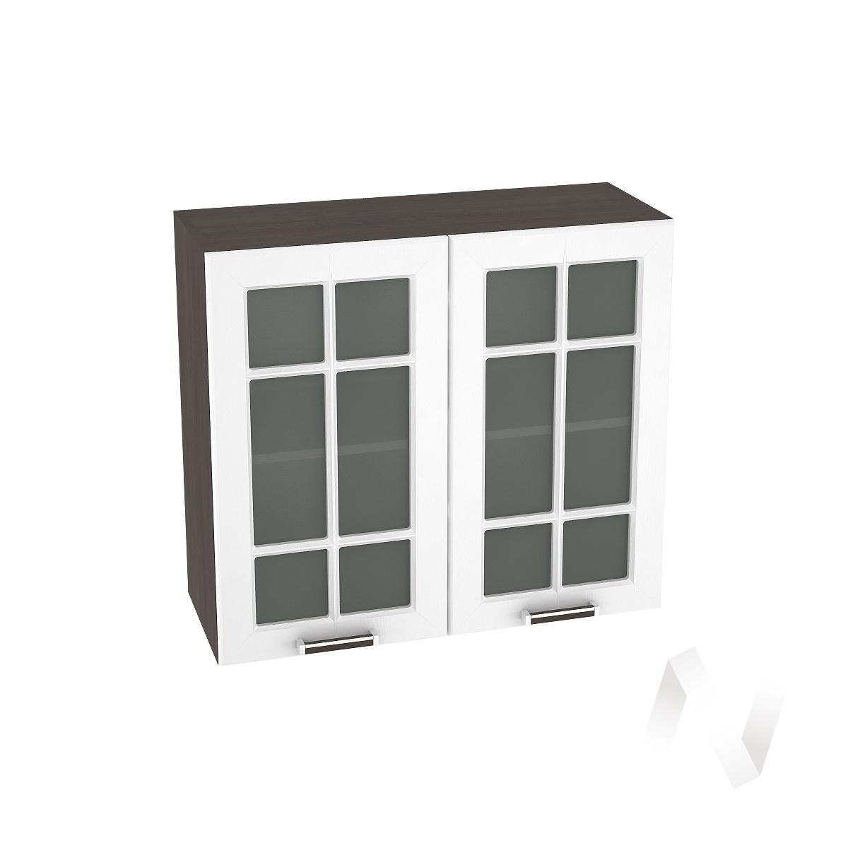 """Кухня """"Прага"""": Шкаф верхний со стеклом 800, ШВС 800 (белое дерево/корпус венге) в Новосибирске в интернет-магазине мебели kuhnya54.ru"""