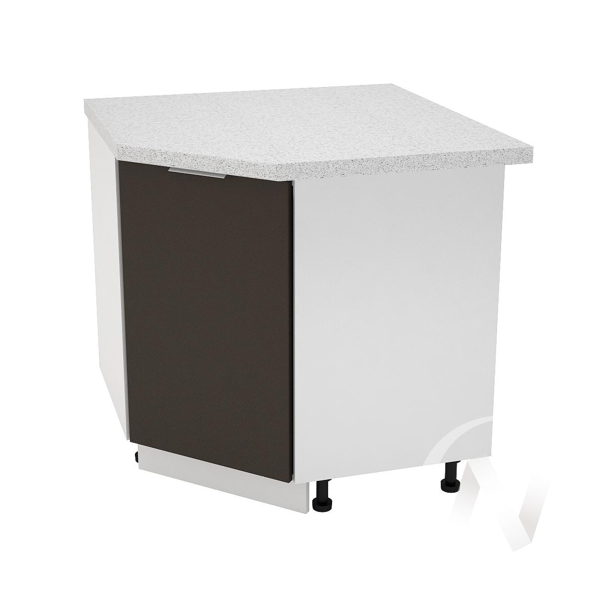 """Кухня """"Терра"""": Шкаф нижний угловой 890, ШНУ 890 (смоки софт/корпус белый)"""
