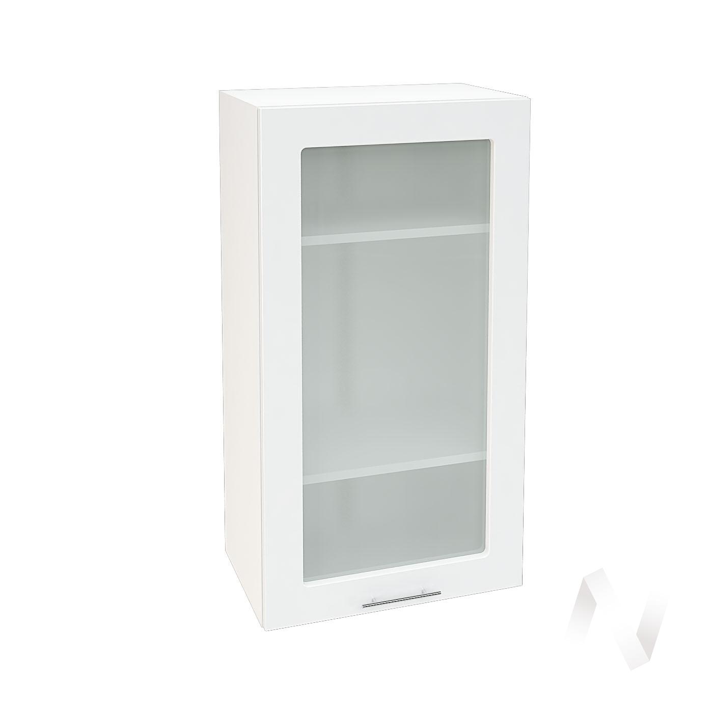 """Кухня """"Валерия-М"""": Шкаф верхний со стеклом 509, ШВС 509 (белый глянец/корпус белый)"""