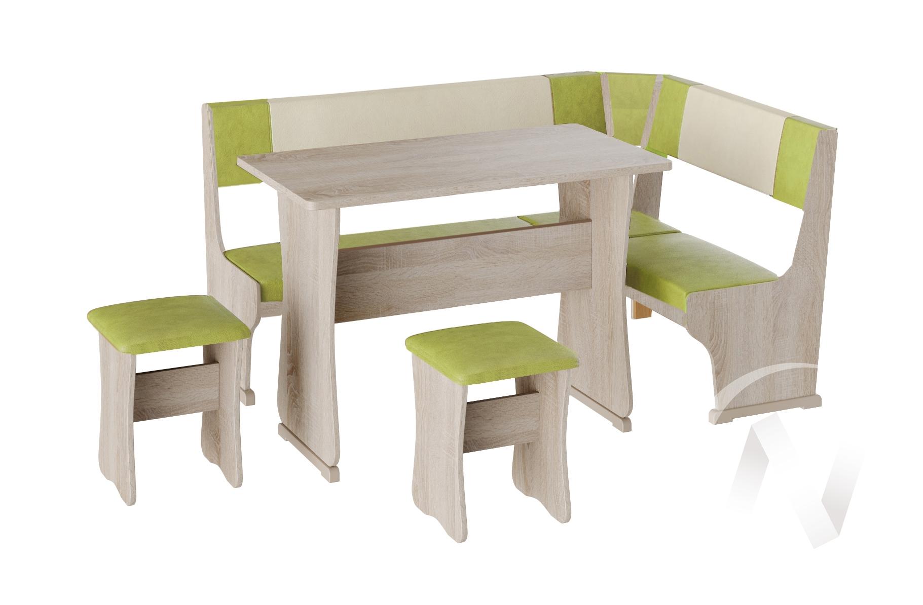 Кухонный уголок Гамма тип 1 кожзам (дуб сонома/фисташка,бежевый)  в Томске — интернет магазин МИРА-мебель