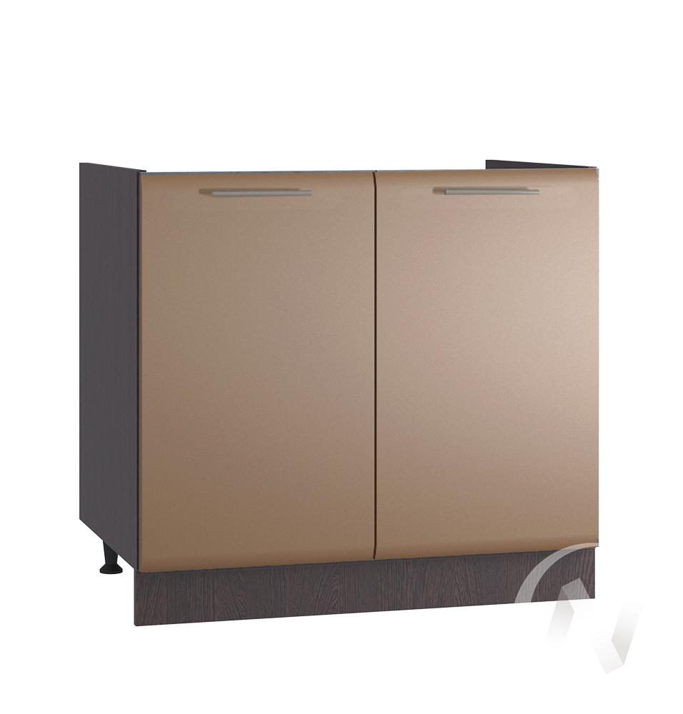 """Кухня """"Люкс"""": Шкаф нижний под мойку 800, ШНМ 800 (Шоколад матовый/корпус венге)"""