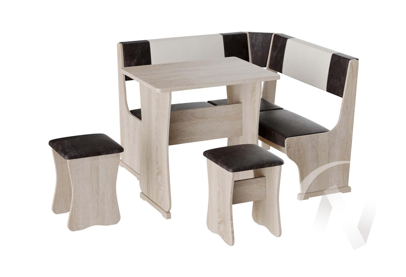 Кухонный уголок Гамма мини тип 1 кожзам (дуб сонома/шоколад,бежевый)  в Томске — интернет магазин МИРА-мебель