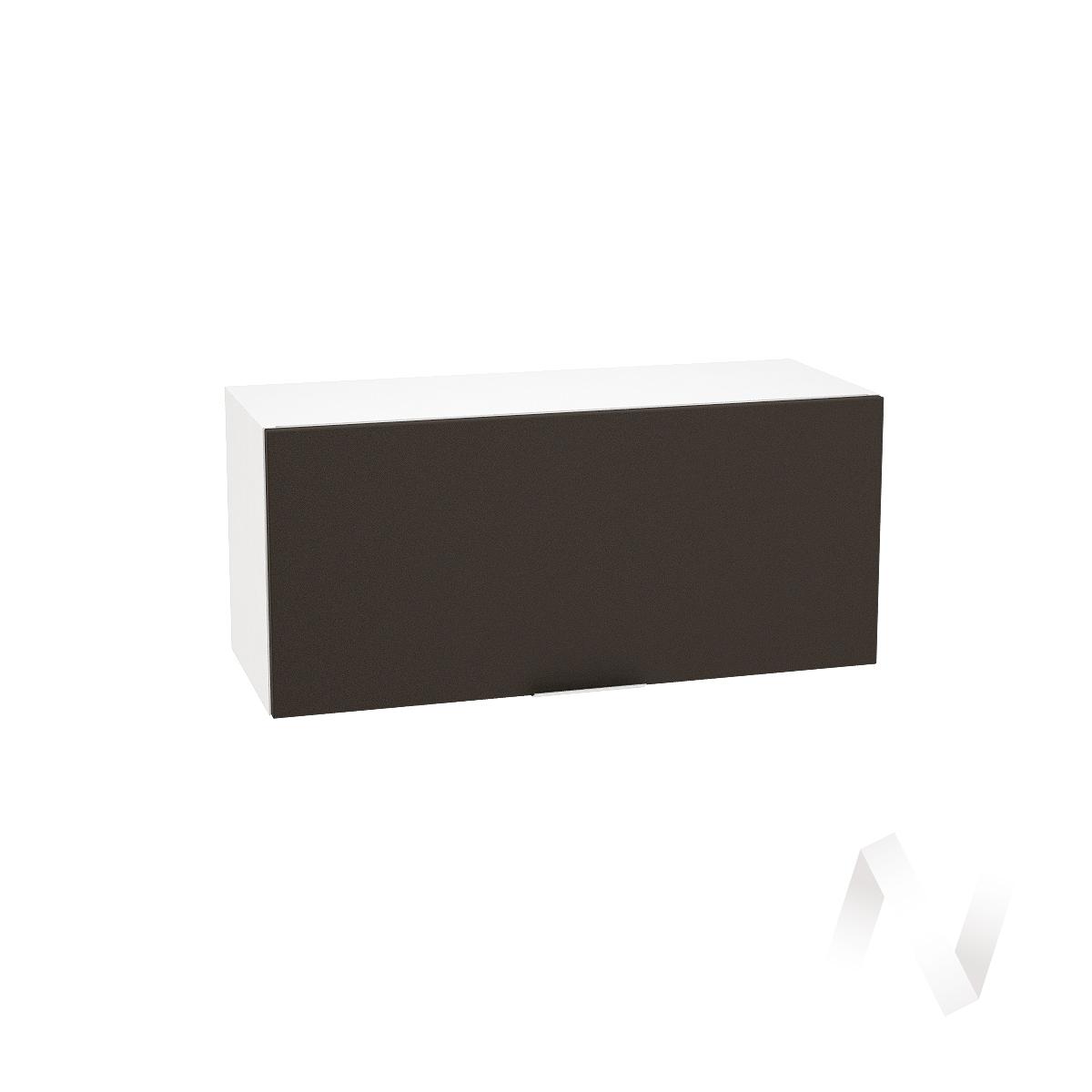 """Кухня """"Терра"""": Шкаф верхний горизонтальный 800, ШВГ 800 (смоки софт/корпус белый)"""