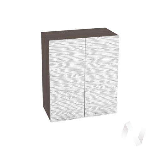 """Кухня """"Валерия-М"""": Шкаф верхний 600, ШВ 600 (Страйп белый/корпус венге)"""