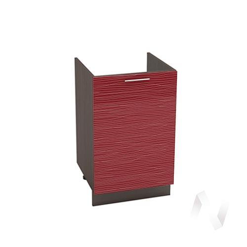 """Кухня """"Валерия-М"""": Шкаф нижний под мойку 500, ШНМ 500 (Страйп красный/корпус венге)"""