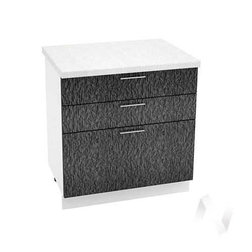 """Кухня """"Валерия-М"""": Шкаф нижний с 3-мя ящиками 800, ШН3Я 800 (дождь черный/корпус белый)"""