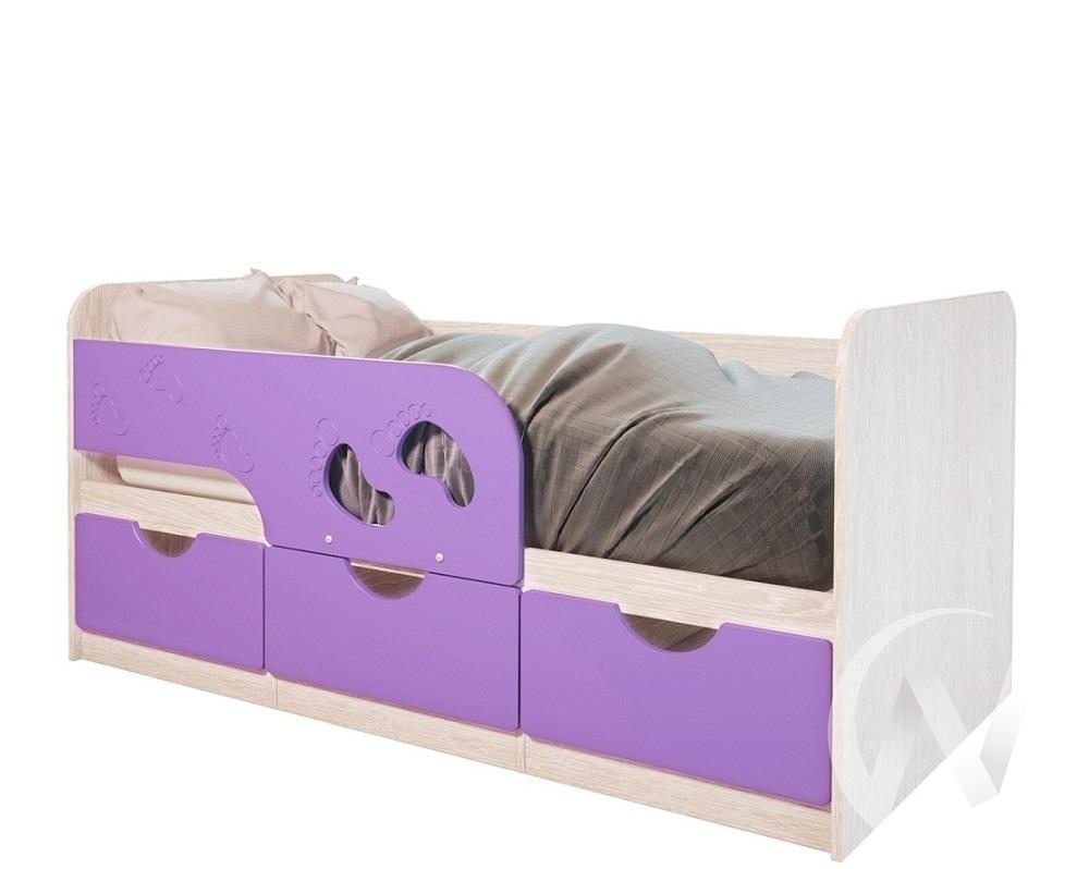 Кровать детская Минима Лего 1,86м с ящиками (дуб атланта/лиловый сад)