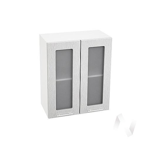 """Кухня """"Валерия-М"""": Шкаф верхний со стеклом 600, ШВС 600 (дождь серый/корпус белый)"""