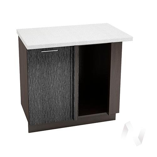 """Кухня """"Валерия-М"""": Шкаф нижний угловой 990М, ШНУ 990М (дождь черный/корпус венге)"""