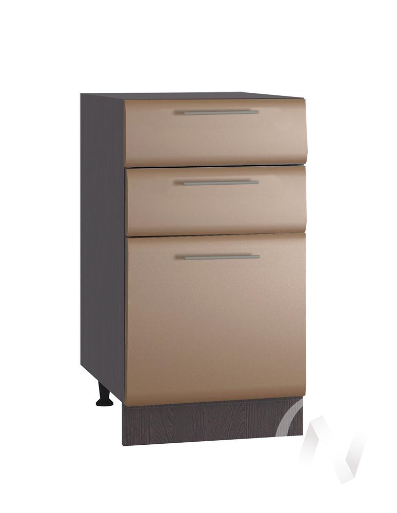 """Кухня """"Люкс"""": Шкаф нижний с 3-мя ящиками 400, ШН3Я 400 (Шоколад матовый/корпус венге)"""