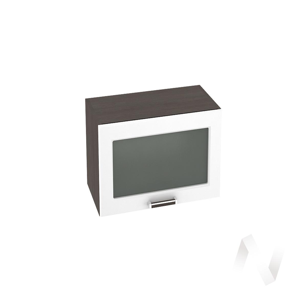 """Кухня """"Прага"""": Шкаф верхний горизонтальный со стеклом 609, ШВГС 609 (белое дерево/корпус венге)"""