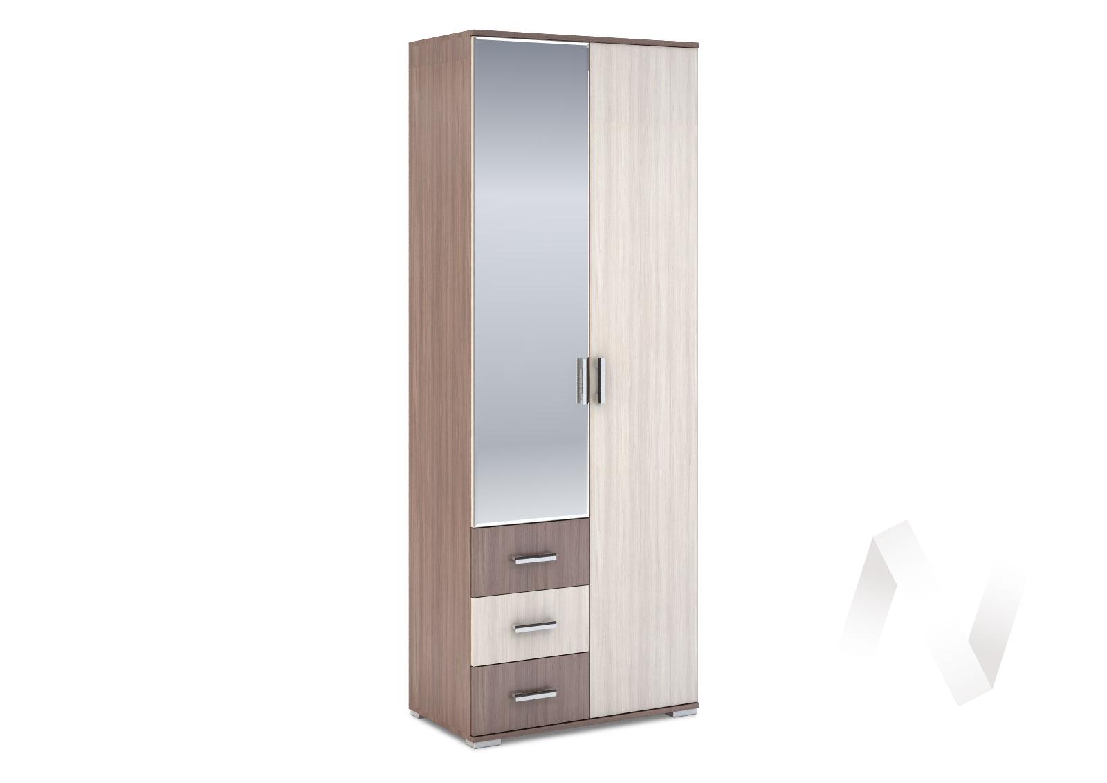 Шкаф 2-створчатый с ящиками 800 Рошель (ясень шимо тем/ясень шимо свет) ШК-802