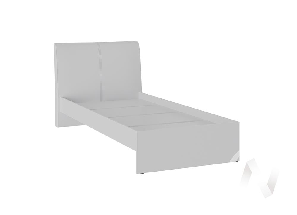 Кровать Доминика 0,9 основание ЛДСП (белый глянец/кожзам белый)  в Томске — интернет магазин МИРА-мебель