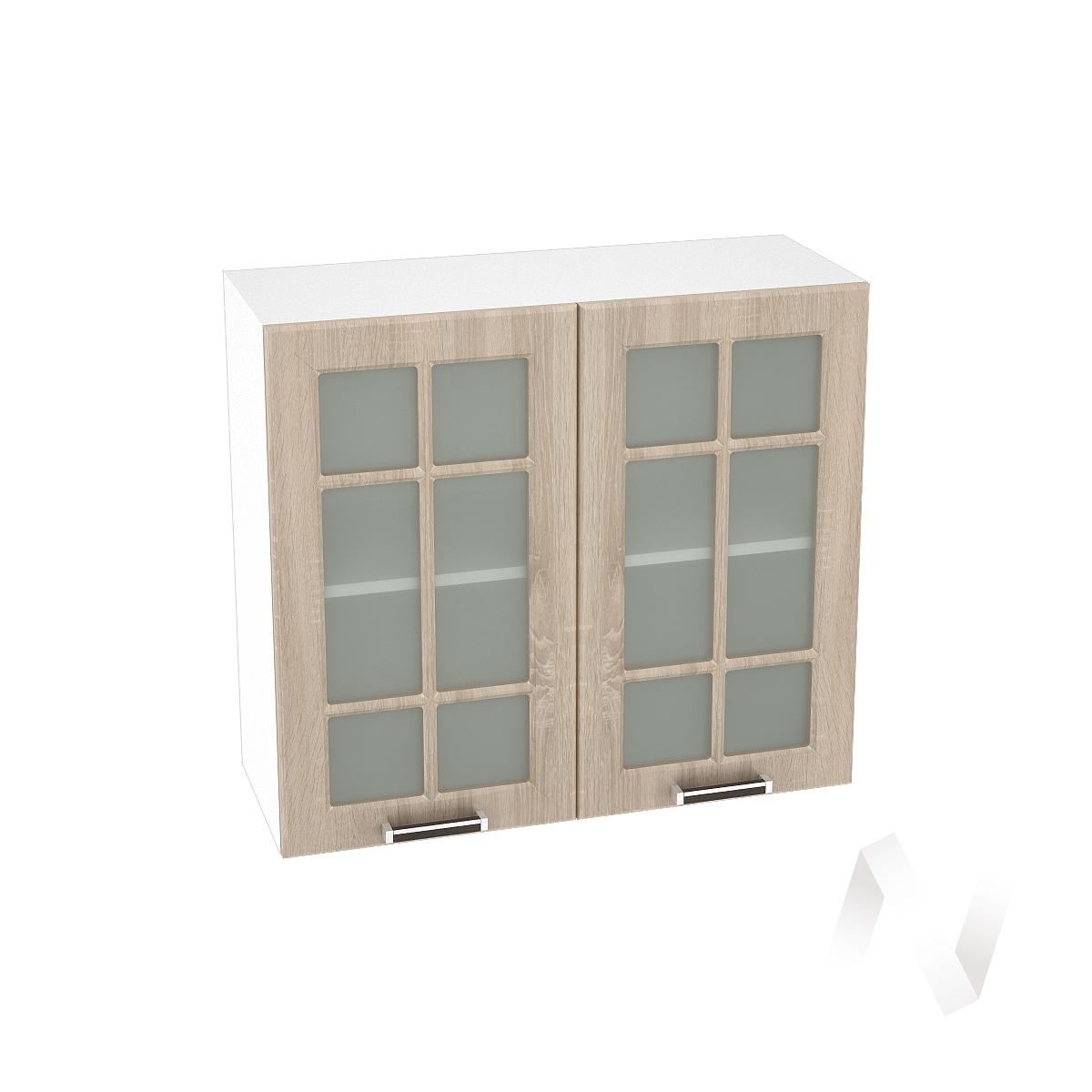 "Кухня ""Прага"": Шкаф верхний со стеклом 800, ШВС 800 (дуб сонома/корпус белый)"
