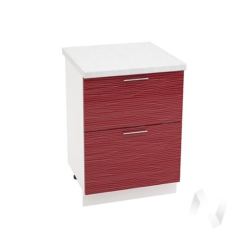 """Кухня """"Валерия-М"""": Шкаф нижний с 2-мя ящиками 600, ШН2Я 600 (Страйп красный/корпус белый)"""