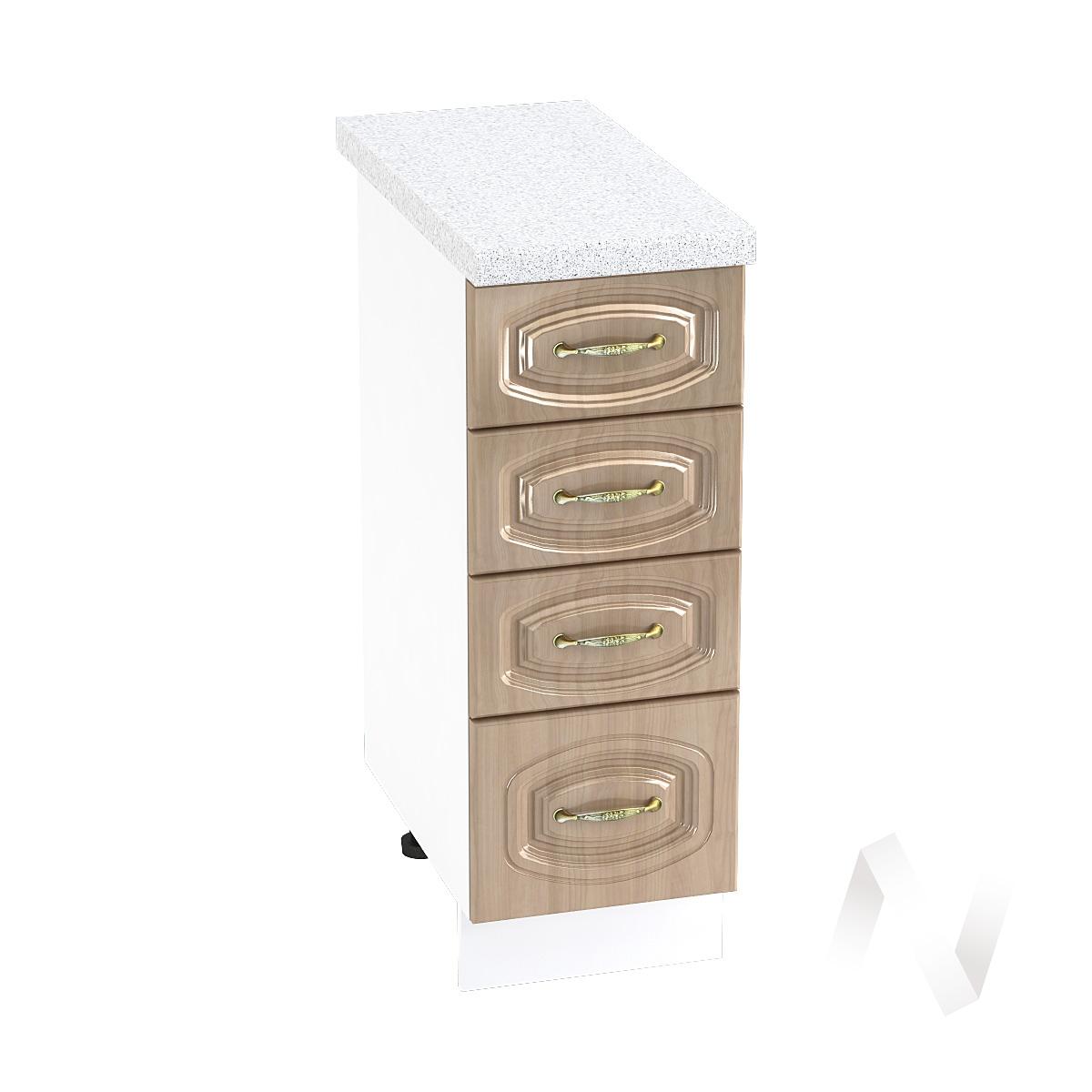 """Кухня """"Сити"""": Шкаф нижний с 4-мя ящиками 300, ШН4Я 300 (корпус белый)"""