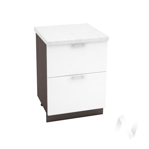 """Кухня """"Валерия-М"""": Шкаф нижний с 2-мя ящиками 600, ШН2Я 600 (белый глянец/корпус венге)"""