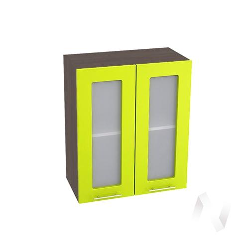 """Кухня """"Валерия-М"""": Шкаф верхний со стеклом 600, ШВС 600 (лайм глянец/корпус венге)"""