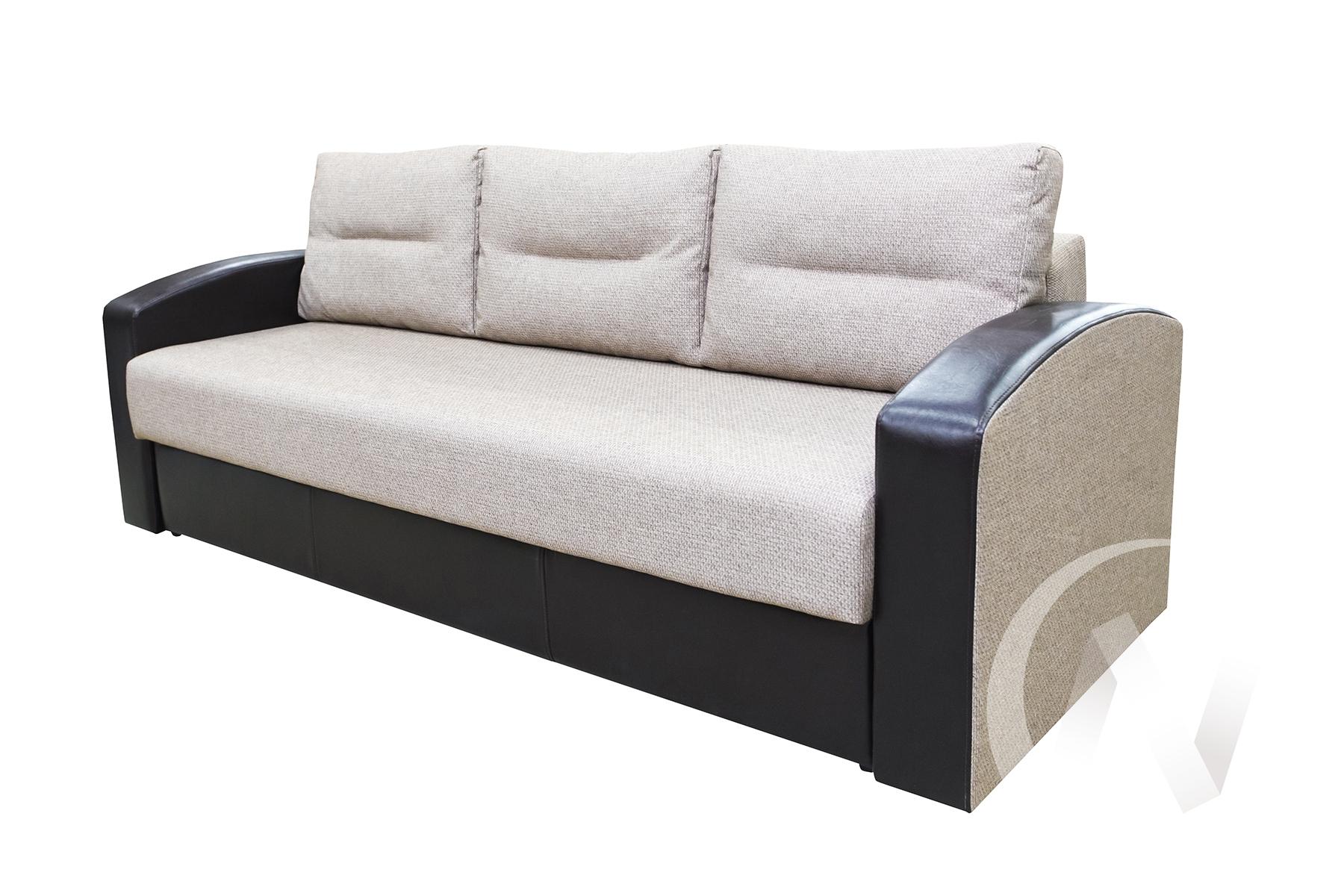 Диван прямой Магнат (рогожа Ролан 1334/2 бежево-коричневый/коричневый к.з.)  в Томске — интернет магазин МИРА-мебель