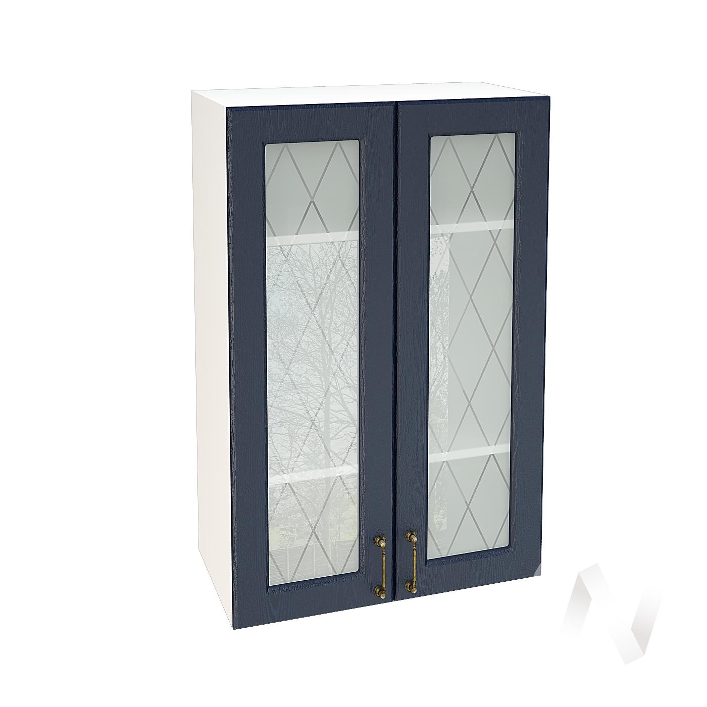 """Кухня """"Ницца"""": Шкаф верхний со стеклом 609, ШВС 609 (Дуб чернильный/корпус белый)"""