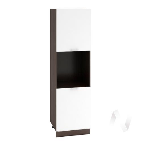 "Кухня ""Валерия-М"": Шкаф пенал 600, ШП 600 (белый глянец/корпус венге)"