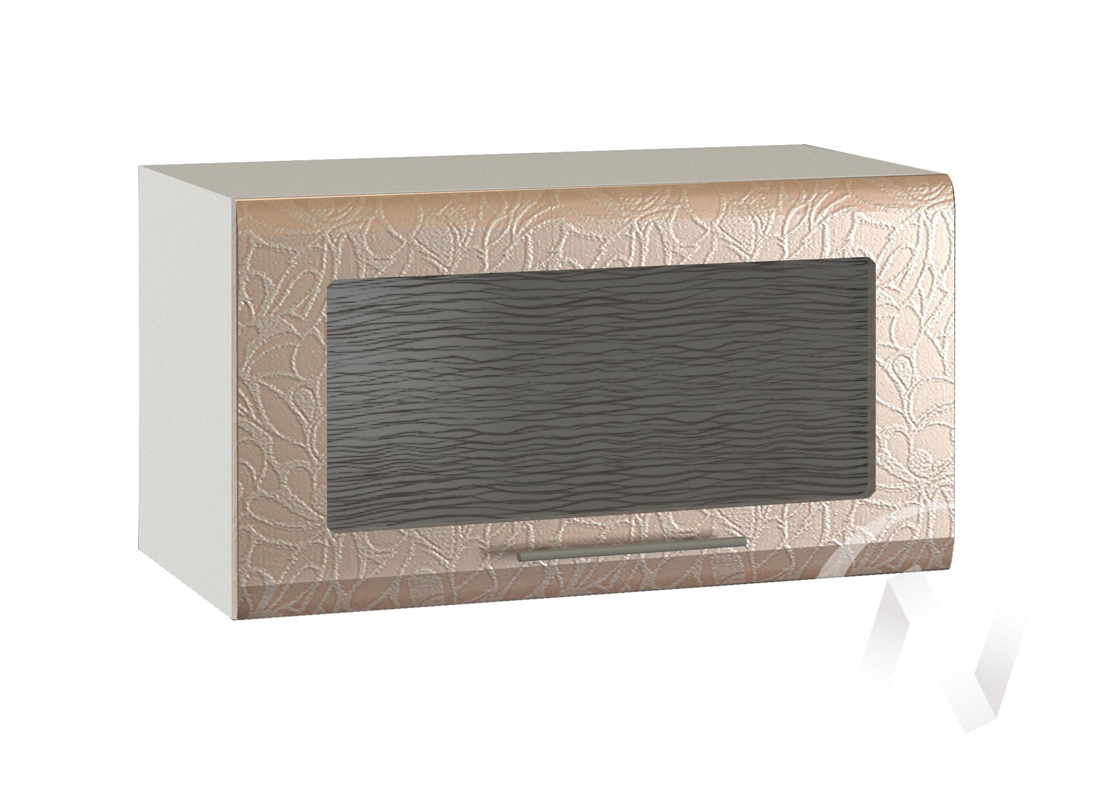 """Кухня """"Люкс"""": Шкаф верхний горизонтальный со стеклом 600, ШВГС 600 (Гобелен шампань/корпус белый)"""