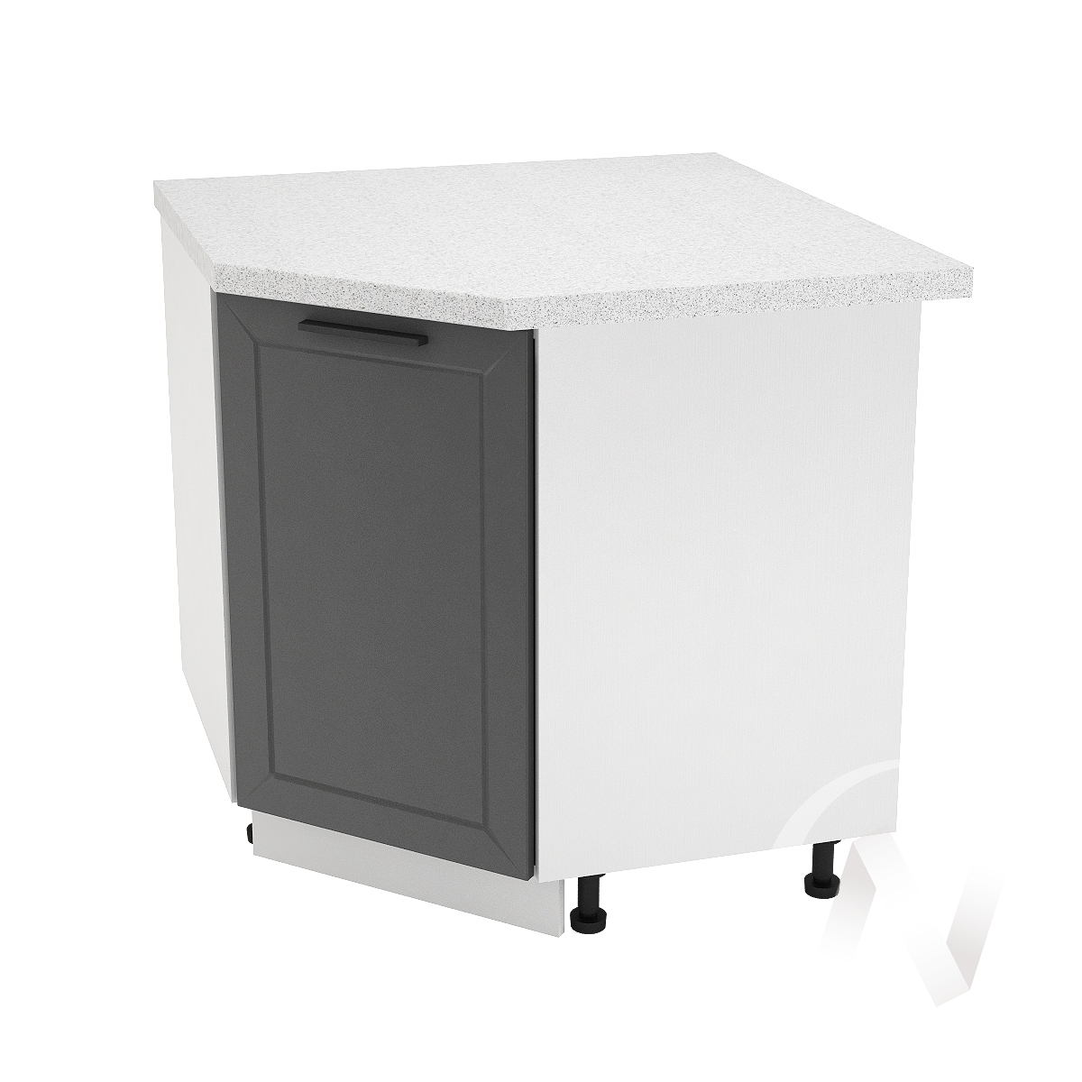 "Кухня ""Глетчер"": Шкаф нижний угловой 890, ШНУ 890 (Маренго силк/корпус белый)"