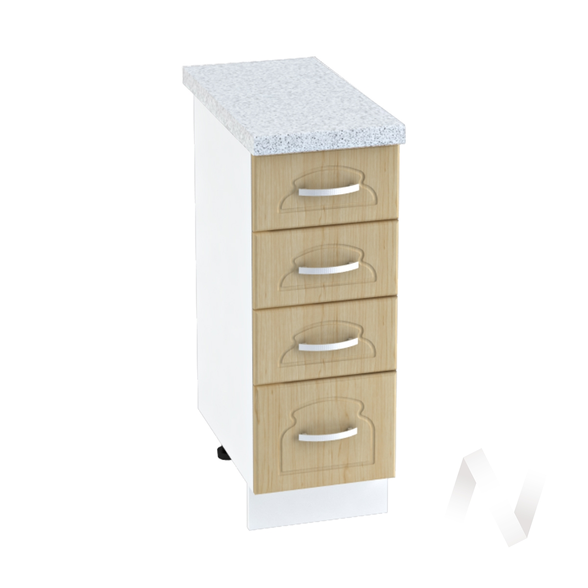 "Кухня ""Настя"": Шкаф нижний с 4-мя ящиками 300, ШН4Я 300 (Береза/корпус белый)"