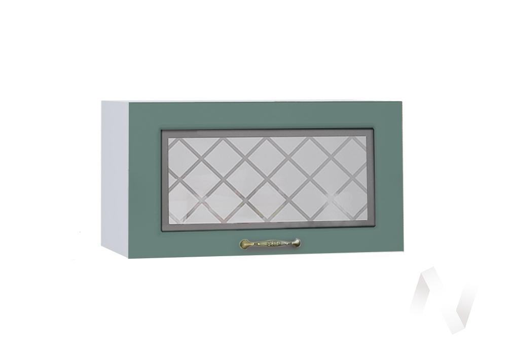 """Кухня """"Селена"""": Шкаф верхний горизонтальный со стеклом 600, ШВГС 600 (Дуб бирюзовый/корпус белый)"""