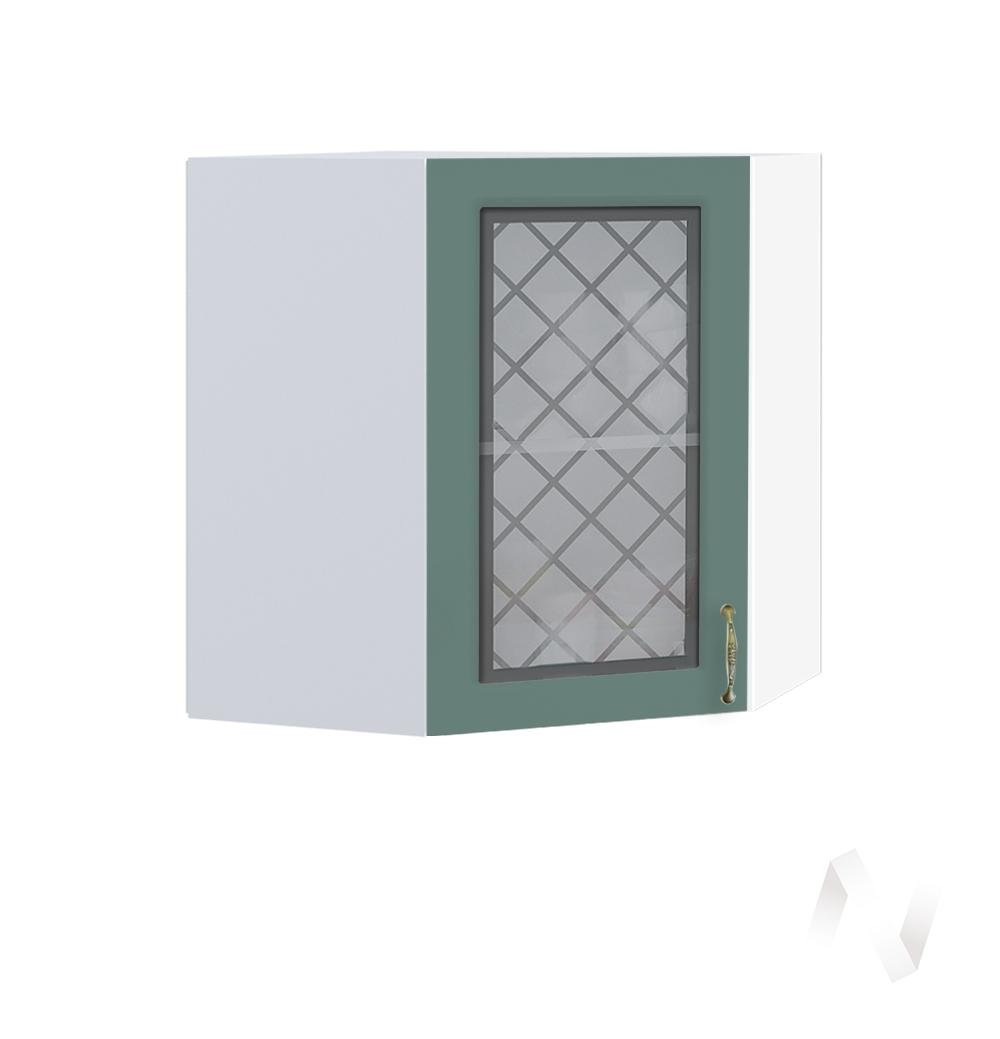 """Кухня """"Селена"""": Шкаф верхний угловой со стеклом 590, ШВУС 590 (Дуб бирюзовый/корпус белый)"""