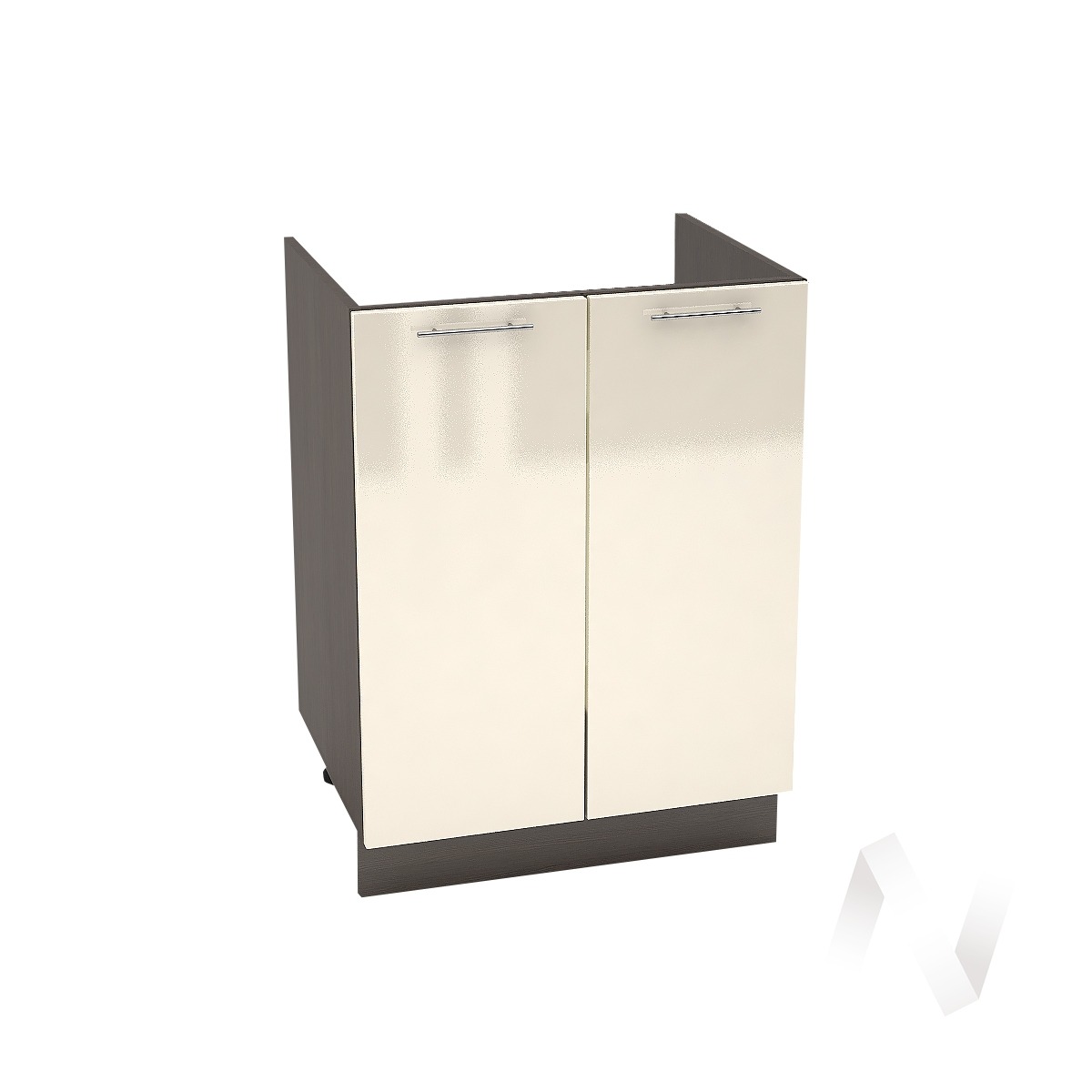 "Кухня ""Валерия-М"": Шкаф нижний под мойку 600, ШНМ 600 (Ваниль глянец/корпус венге)"